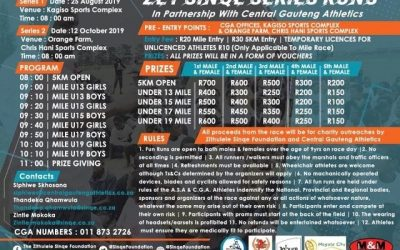 The Zithulele Sinqe Foundation will be hosting its first Zet Sinqe Series Run, in partnership with Central Gauteng Athletics