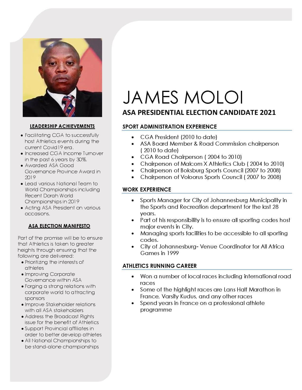 James Moloi - ASA Presidential Candidate Portfolio